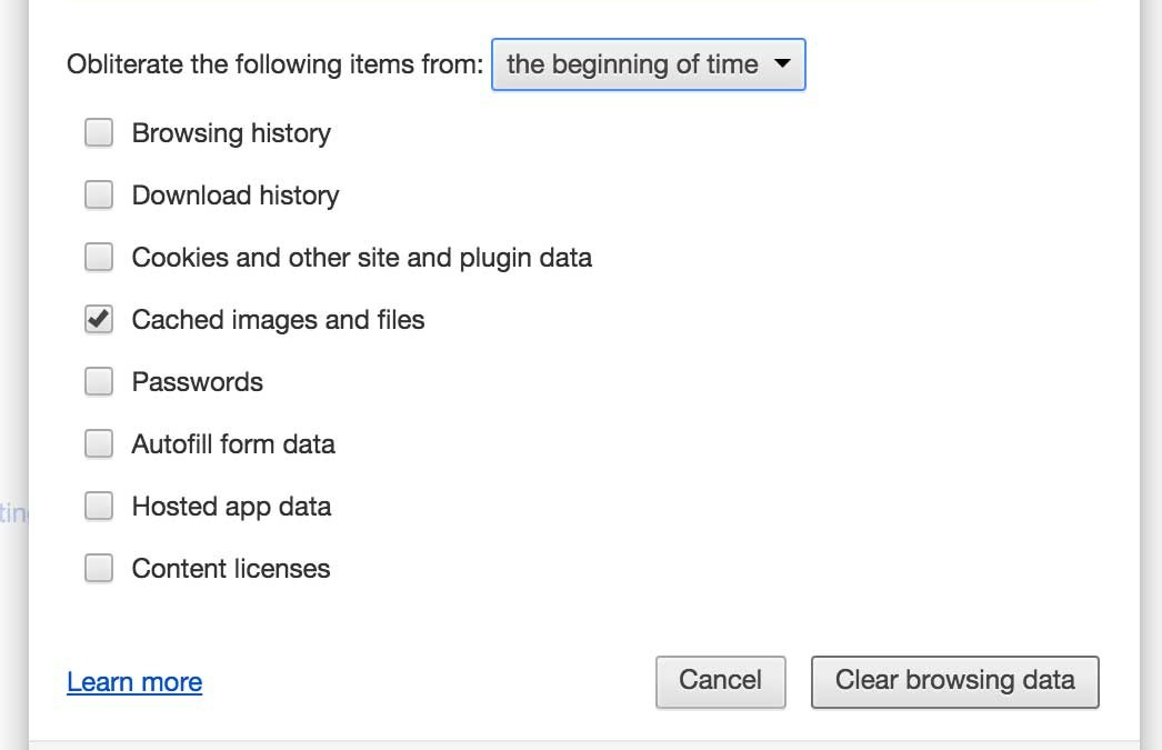 Clearing Browser Cache